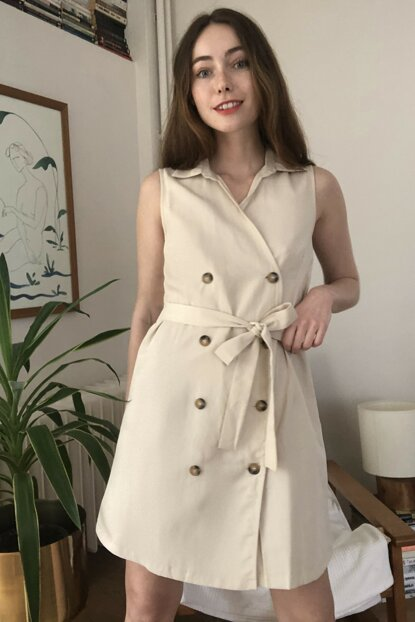 TRENDYOLMİLLA Krem Kuşaklı Ceket Elbise TWOSS20EL2909
