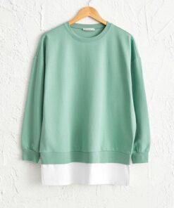 LC Waikiki Kadın Mat Yeşil Sweatshirt 0WBD39Z8