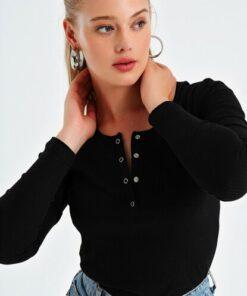 Trend Alaçatı Stili Kadın Siyah Çıtçıtlı Kaşkorse Bluz MDS-345-BLZ