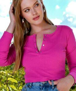 Trend Alaçatı Stili Kadın Fuşya Çıtçıtlı Kaşkorse Bluz MDS-345-BLZ