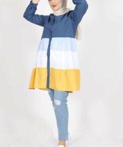 kombinal 7101 Terikoton Kumaş Kadın Gömlek Tunik - Lacivert