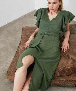 TRENDYOLMİLLA Haki Kemerli Kolları Volanlı Elbise TWOSS19EL0233