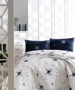 Ev & Ev Home Çift Kişilik Kapitone Yatak Örtüsü Seti MegaStar Beyaz