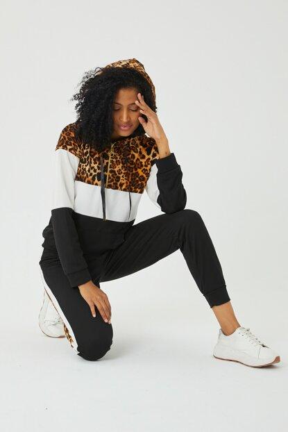 LE CARAMBOLE Kadın Siyah Leopar Detaylı Eşofman Takım