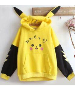 GEZMONİ Unisex Sarı Pikaçu Özel Tasarım Sweatshirt
