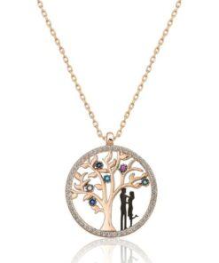 Papatya Silver Kadın Hayat Ağacı Renkli Nano Zirkon Taşlı Rose Gold Kaplama 925 Ayar Gümüş Kolye  Uvps100510