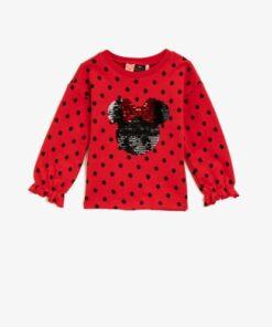 Koton Pamuklu Minnie Mouse Lisansli Pullu Puantiyeli Sweatshirt