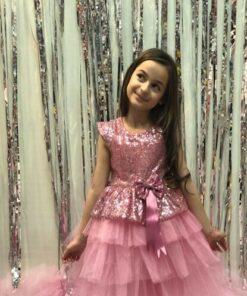 Buse&Eylül Bebe Pembe Pullu Prenses Elbise