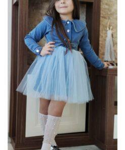 Riccotarz Kız Çocuk Düğmeli Kot Tütülü Elbise
