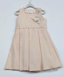 jibau Kız Çocuk Pudra Çiçekli İçi Astarlı Elbise