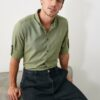 TRENDYOL MAN Haki Erkek Düğmeli Yaka Apoletli Slim Fit Uzun Kollu Gömlek TMNSS20GO0189