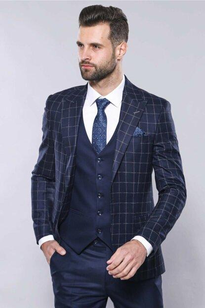 Wessi Erkek Ekose Ceket Yelekli Slim Fit Takım Elbise