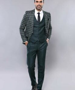 Wessi Erkek Ekose Ceketli Yelekli Takım Elbise