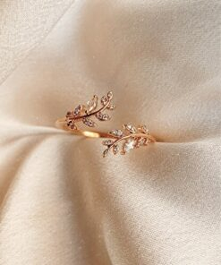 LOTUS GÜMÜŞ 14k Rose Gold Kaplama Akasya Çiçeği Kadın Yüzük