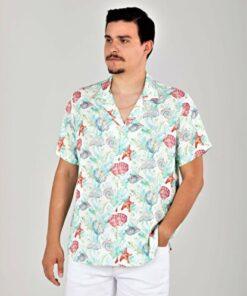 SÖR BÜLEND Deniz Kabuğu Desenli Hawaii Yaka Yazlık Viskon Gömlek