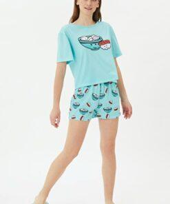 TRENDYOLMİLLA Mint Baskılı Örme Pijama Takımı THMSS21PT1077