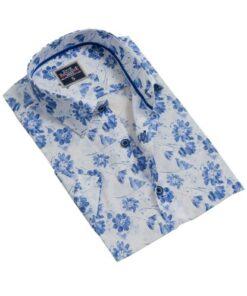 Exve Exclusive Erkek Mavi Çiçekli Slim Fit Kısa Kollu Hawaii Gömlek